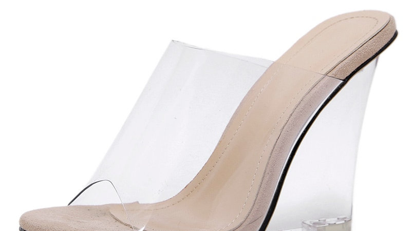 Sexy 2020 Colors Transparent Crystal Women's Slippers Wedge Heel Shoes Slides