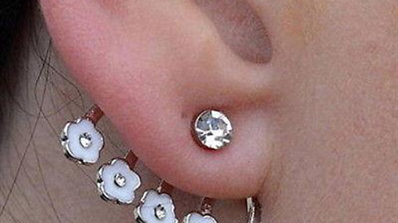 Crystal Flower Ear Cuff Stud Earring White Daisy Pierced Earring