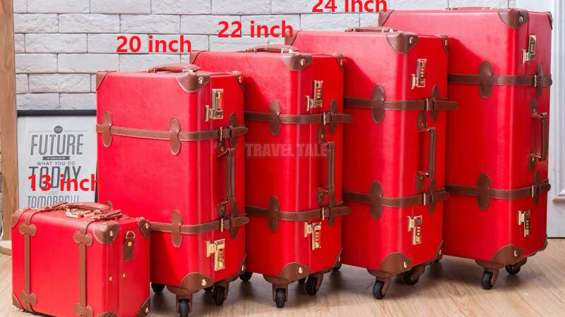 """Carrylove 20""""22""""24""""26"""" Inch Women Retro Leather Trolley Luggage Spinner Vintage"""