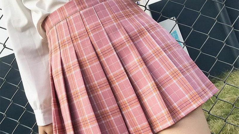 QRWR XS-3XL Plaid Summer Women Skirt 2020 High Waist Stitching  Pleated Skirts