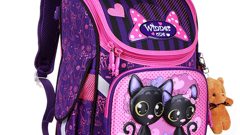 New Fashion Cartoon School Bags Backpack for Girls Boys Bear Cat Design