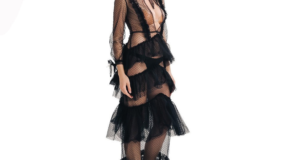 Black Layered Evening Dress