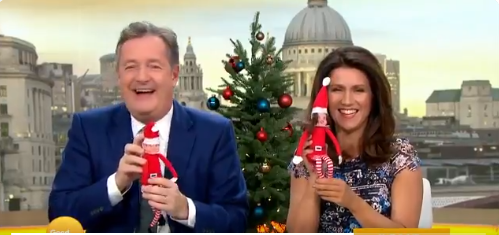 Piers Morgan & Susanna Reid with Elf lookalike dolls