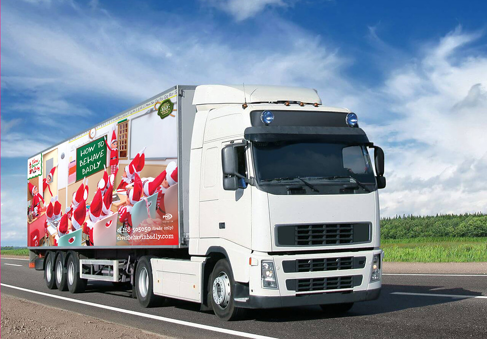 PMS Lorry with Naughty Elf Image on side