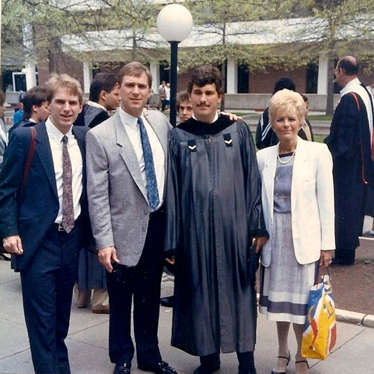 Doug, Jim, Russ, Joyce (mom) at Delhi Graduation