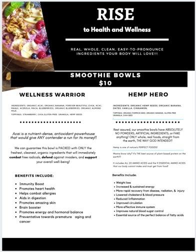 Rise to Health and Wellness menu options