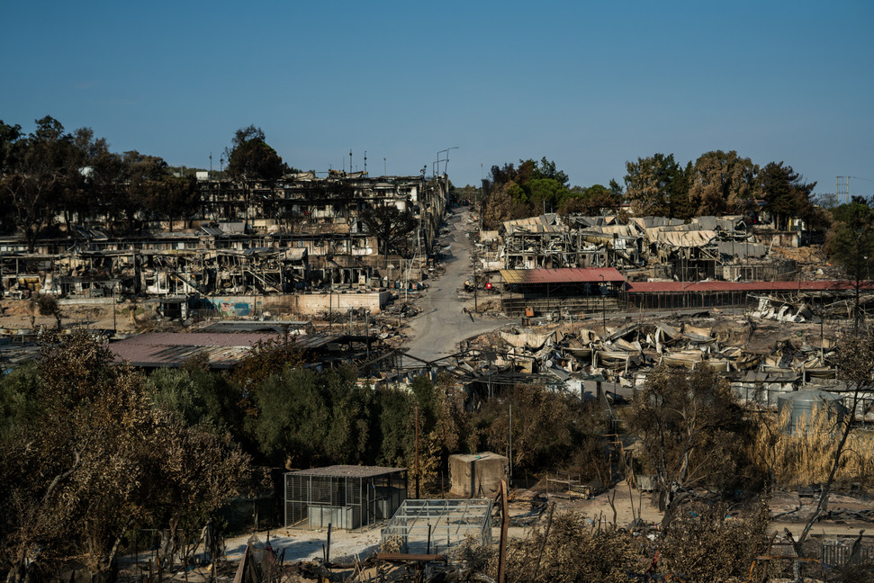 Moria´s Refugee Camp days after being totally destroyed by 15 hours of intense fire. All the facilities were completely devastated.