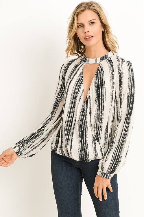 Abstract Stripe Long Sleeve Top