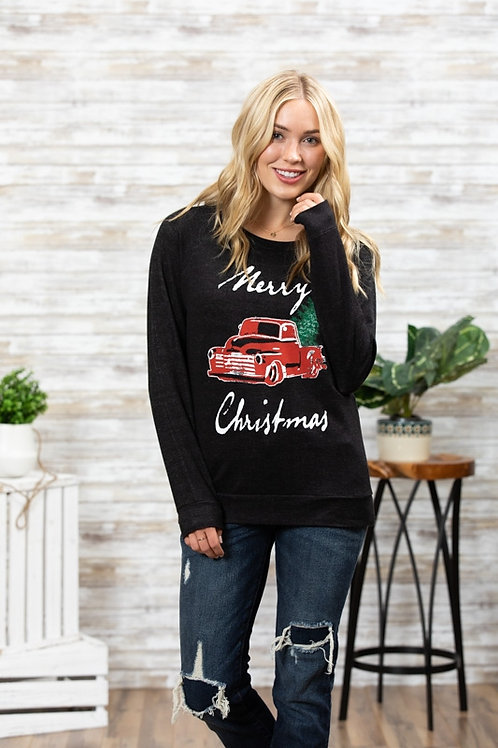 Pick up truck w/ Christmas tree  - crewneck sweatshirt