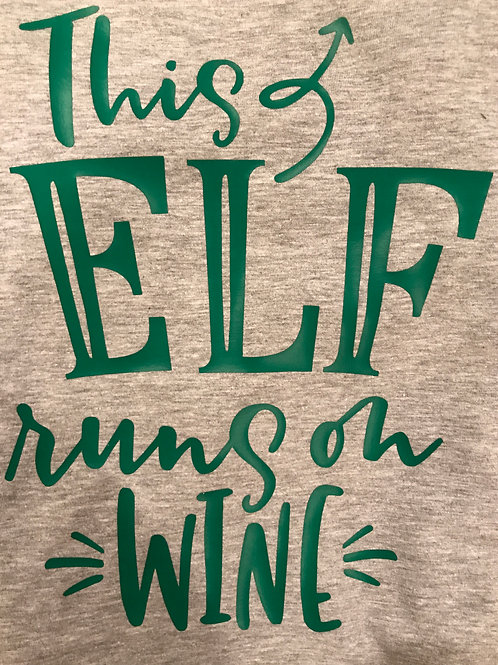 This Elf Runs on Wine, Womens T-shirt