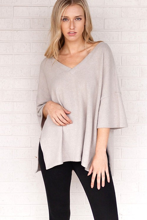 Relaxed Fit V-Neck Sweater