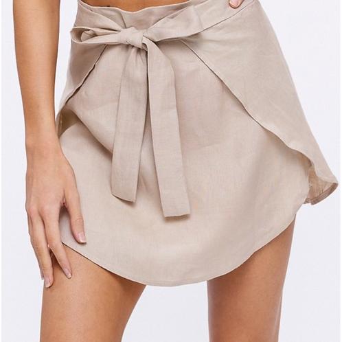 Linen Wrap Mini Skirt