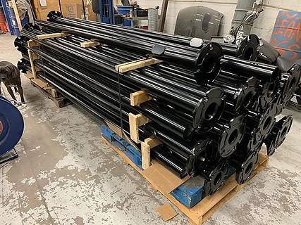 Light poles powder coated in satin black