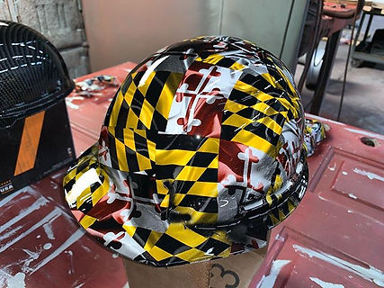 Hard hat in Maryland flag hydrographics.