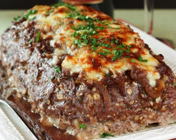 French Onion Meatloaf Dinner w/Yeast Rolls