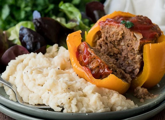 Meatloaf Stuffed Peppers & Mashed Cauliflower