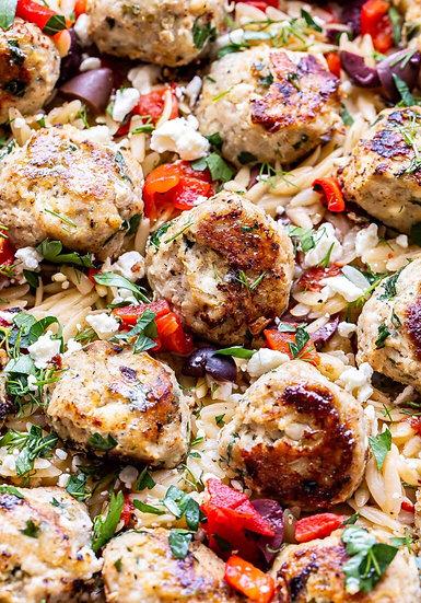 Tzatziki Greek Meatballs, Orzo, Veggies Dinner w/Grilled Pita