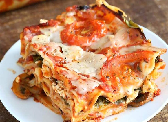 Impossible Meat, Mushroom, Spinach Lasagna