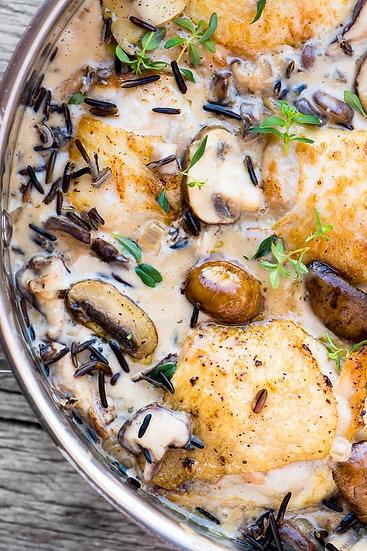 Creamy Mushroom Garlic Chicken Dinner