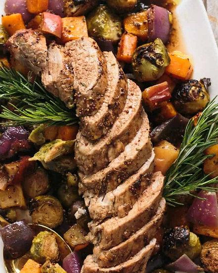 Rosemary Pork Tenderloin, Apples and Root Vegetables w/Yeast Rolls