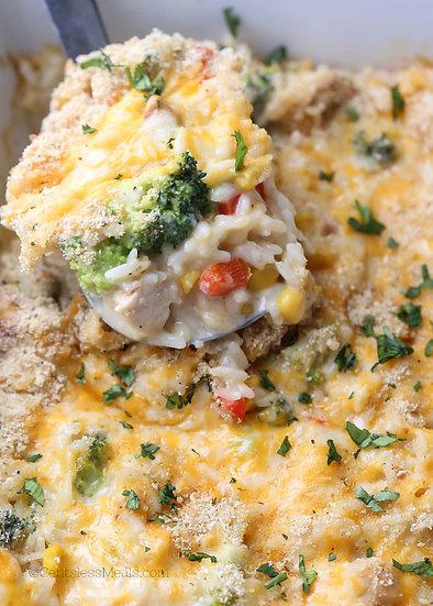 Chicken Broccoli Rice Bake w/Herb Butter Yeast Rolls