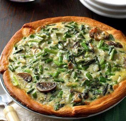 Crustless Asparagus, Mushroom Swiss Quiche
