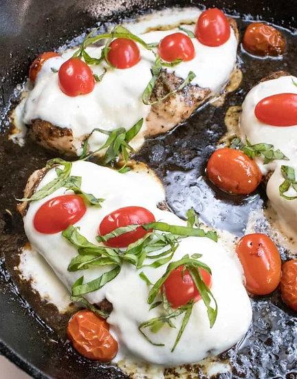 Keto Caprese Chicken Bake & Garlic Roasted Asparagus