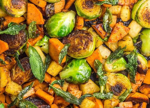 Honey Balsamic Roasted Veggies and Yeast Roll
