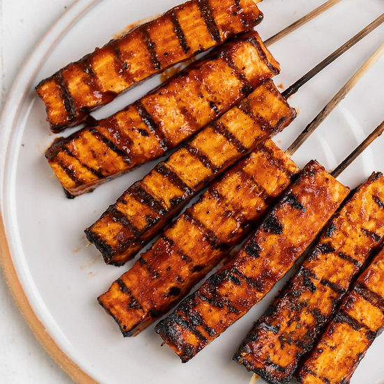 BBQ Tofu Skewers w/Grilled Pineapple, Corn & Potatoes w/Texas Toast