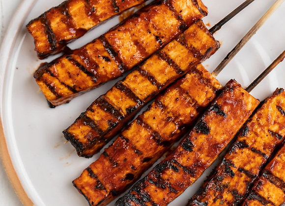 Vegan BBQ Tofu Skewers w/Grilled Pineapple & Fresh Veggies