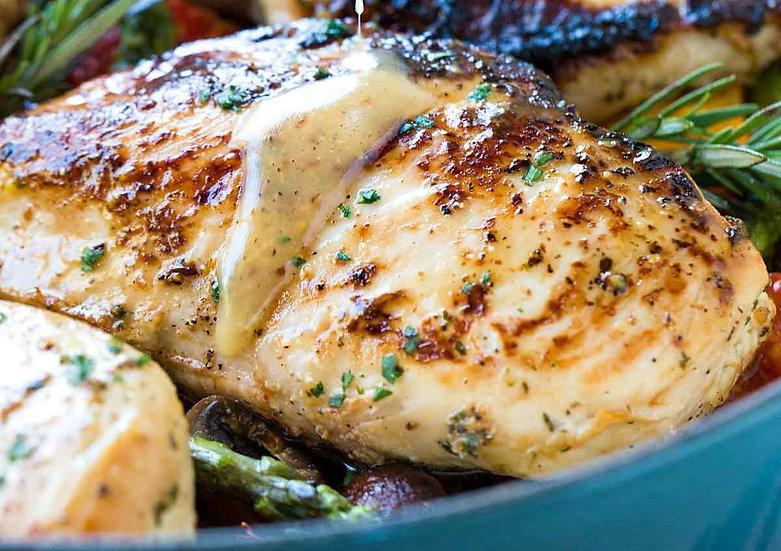 Dijon Chicken Dinner w/Herb Butter Yeast Rolls