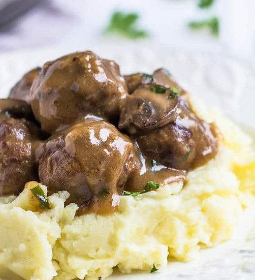 Meatballs & Gravy Dinner w/Herb Butter Yeast Rolls