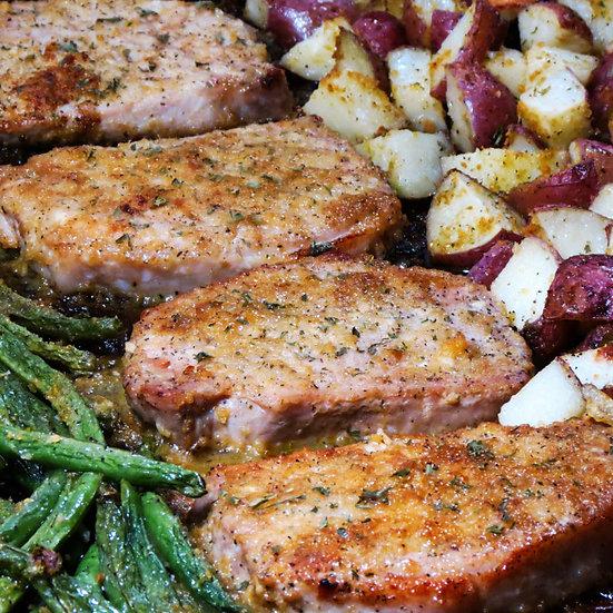 Ranch Pork Chops & Potatoes w/Fresh Green Beans & Herb Butter Yeast Rolls