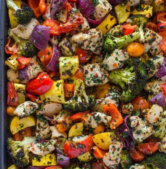 "Pesto Roasted Veggies & Impossible ""Chicken"""
