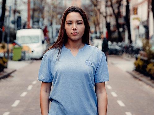 Unisex Oversized Basic V T-Shirt Blauw