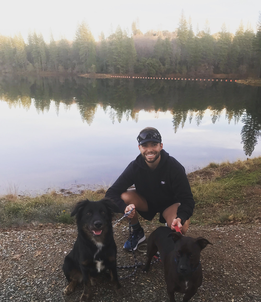 Running with dog at Lake Tabeaud
