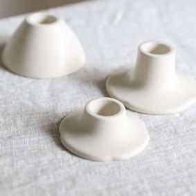 Taper candle holder - Ceramic white