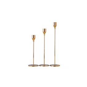 Soft gold candle holder set