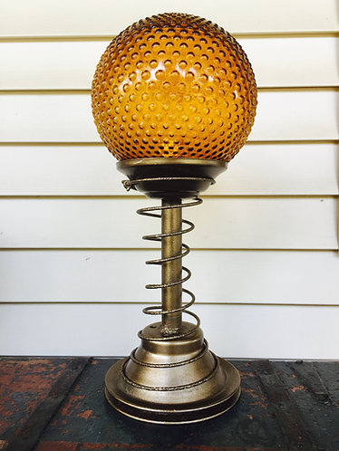 Up Cycled Metal Lamp with Amber Globe