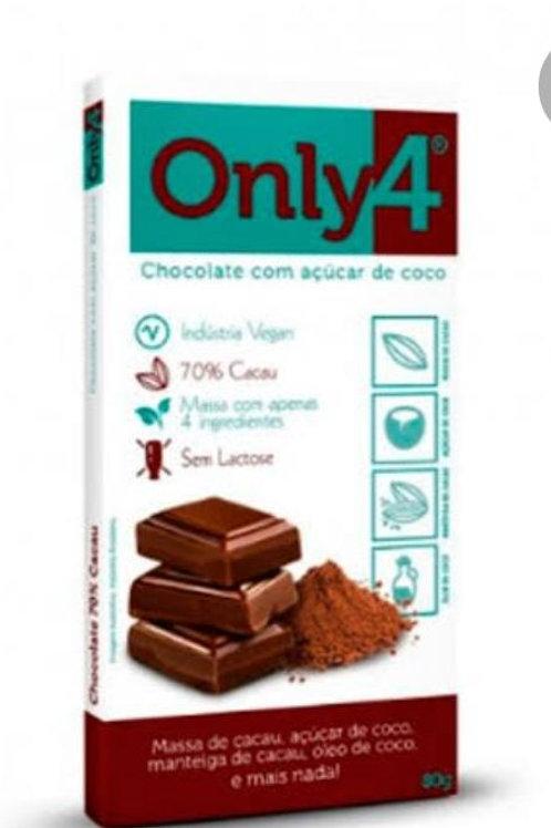 Chocolate com açúcar de coco puro ONLY4 80g