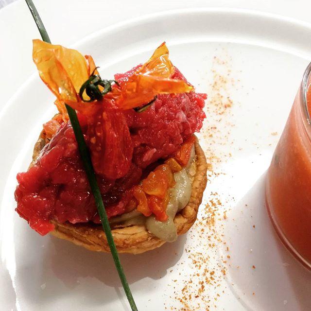 #grassfed #jersey #tartar with a #puffpastry base #smokedricotta #aubergine puree, #confittomato tar