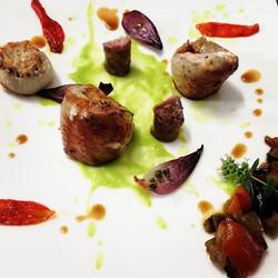 #summer #pheasant__#rolled pheasant breast, #zucchini #sauce #confittomatoes #capponata #luganega #s