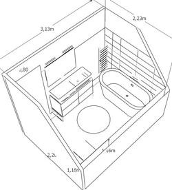 croquis implantation salle de bain