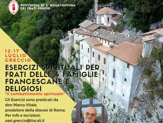 Esercizi Spirituali per Frati delle 4 famiglie francescane e Religiosi a Greccio