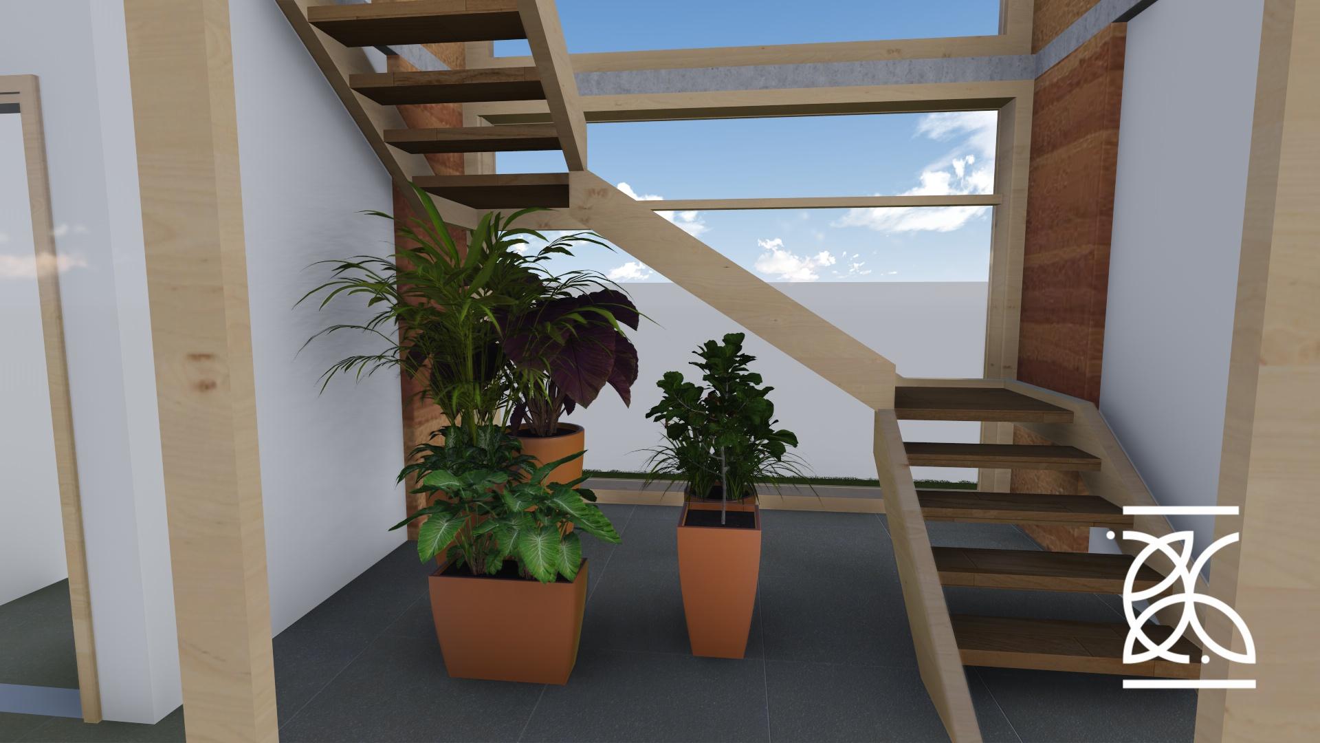 Escada com iluminação natural