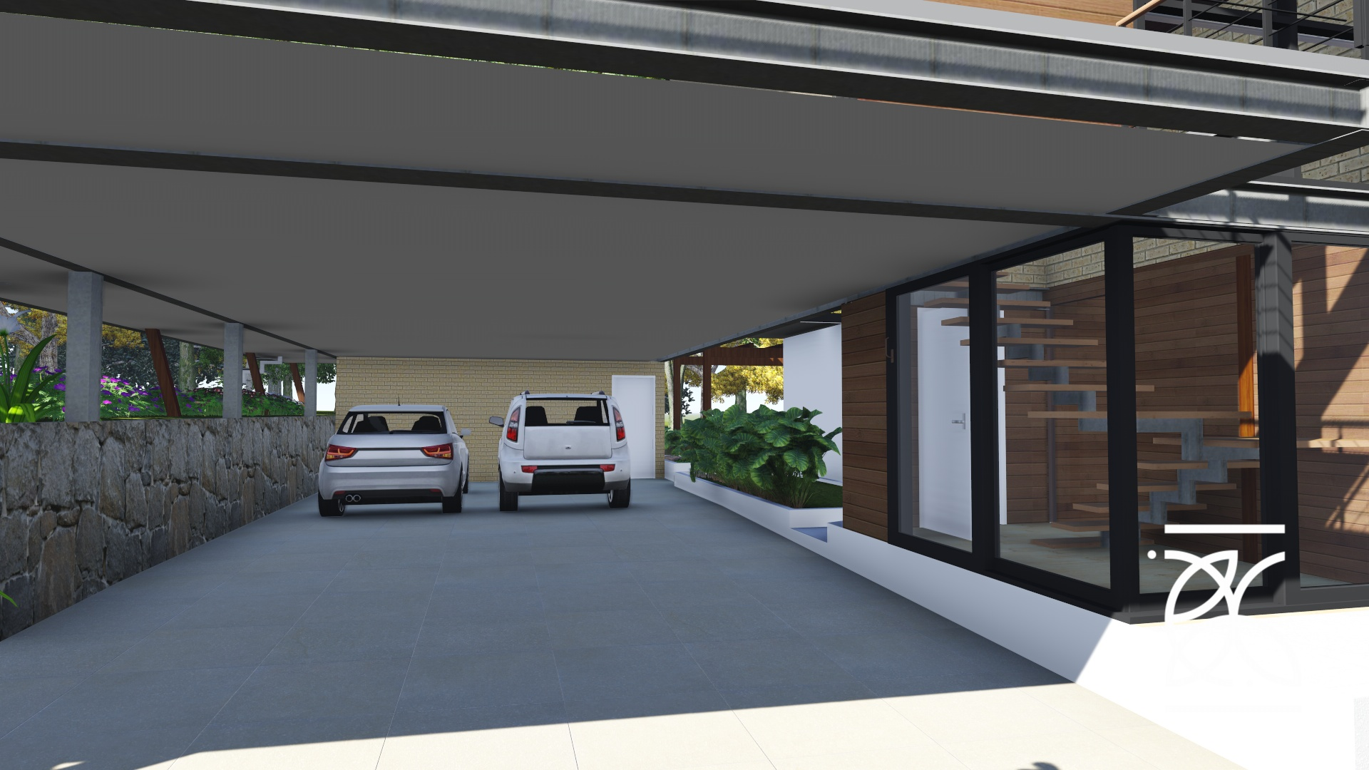 Garagem integrada com iluminação natural