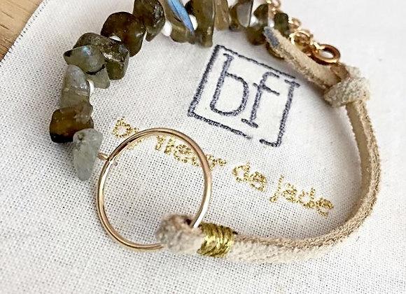 bracelet DYHIA cuir suédé vanille