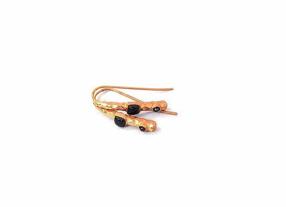 boucles d'oreille OPS doré rose