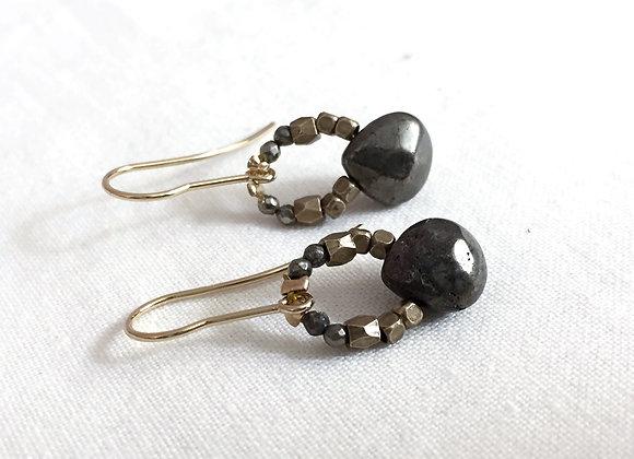Boucles d'oreille PRECIOUS Pyrite
