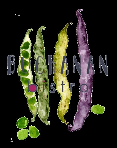 Buchanan bistro restaurant logo with bea